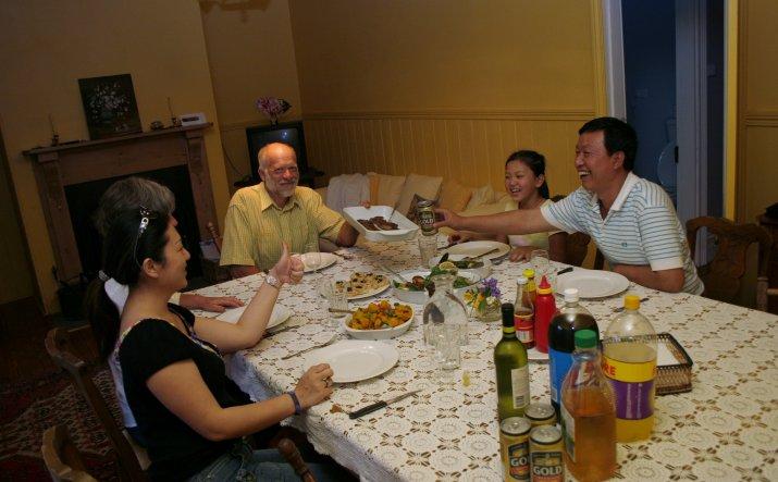Family sharing dinner