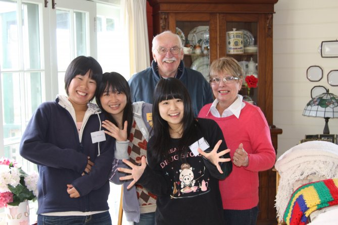 Japanese guests with hosts