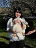 J student holding duck