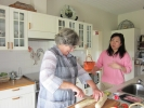 Preparing lunch with host